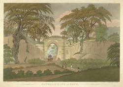 'Cutwally Gate at Gour.'  From 'Views at Gaur', six aquatints by James Moffat after Henry Creighton, published by Moffat in Calcutta 1808.